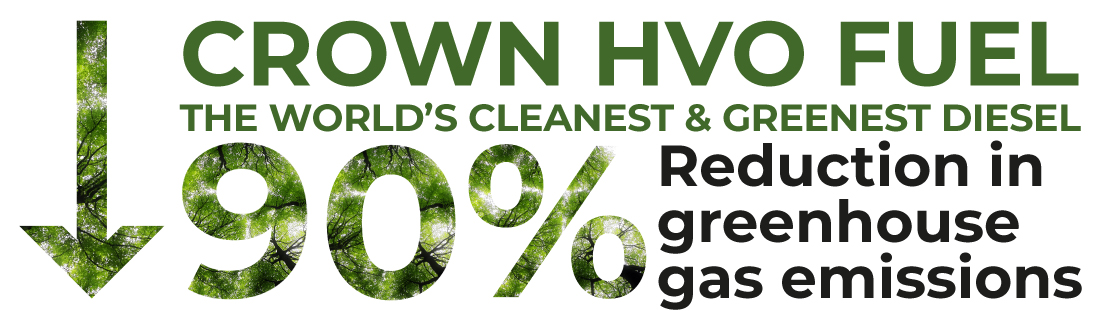 HVO fuel - 90% greenhouse gas emission reductions
